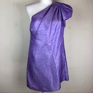 Bebe Linen Purple One Shoulder Mini Dress Sz Small